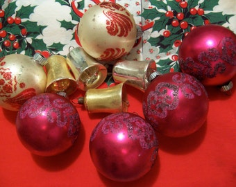 vintage assortment of glass ornaments