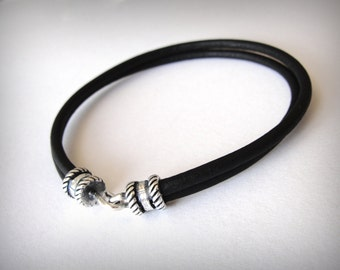 Leather Bracelet Sterling Silver Black Leather Womens or Mens leather bracelet Ready to ship jewelry