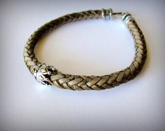 Crown bracelet Sterling Crown Slider Bead on Light Brown Leather bracelet Zeta Crown KC Royals ready to ship - LAST ONE