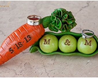 Peas and Carrots ... Wedding cake topper...We go together like peas and carrots... Personalized, custom initials and date...Made to order
