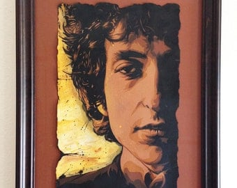 Bob Dylan Stencil Portrait (framed and signed by Artist)