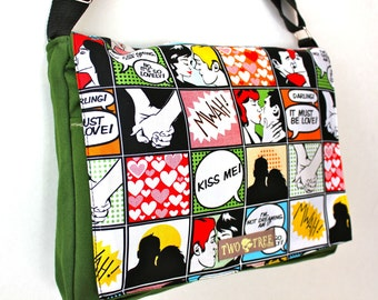 Green COMIC Book Romance MESSENGER Book Laptop iPAD Diaper BAG