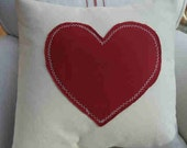 "Valentine 16"" HEART FRencH CoTTage PiLLow SHaBBy ChiC ReD Twill on Natural CreaM"
