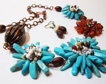 Turquoise and carnelian flower bouquet statement necklace
