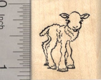 Little Lamb Rubber Stamp, Baby Sheep, Spring, Easter D24417 Wood Mounted