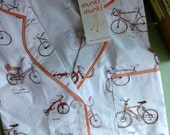 Heather Ross Munki Munki INTACT Pajama TOP Bikes I Have Loved Size L