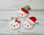 Christmas Kitty Felt Applique, Christmas Kitty Embroidered Applique, Christmas Appliques, Holiday Appliques, Kitty Appliques