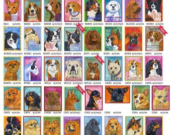 Multiple magnet discount Choose from 200 designs  dog breed artwork dog portrait humorous