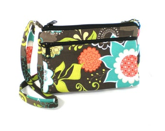 Sassy Cross Body Hipster with Adjustable Strap  Large Floral on Brown