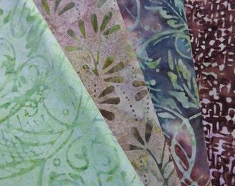 Wilmingnt Prints Batavian Batiks 4 Fat Quarter Bundle Green Brown