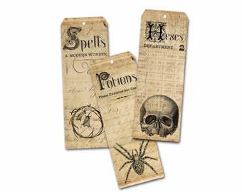 Halloween Bookmarks, Halloween Party Favors, Spells, Potions, Hexes, Evil Eye, Goth Party, Halloween Wiccan Gift Tag,