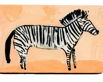 Zebra, painting on board