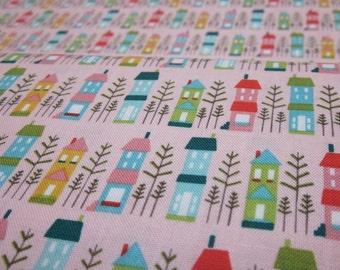 Riley Blake So Happy Pink Houses Cotton Fat Quarter