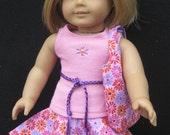 Pink and Lavender Floral Hankie Skirt Set for American Girl