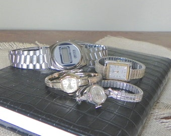 Vintage ladies and men watch parts and watches for repurposing steampunk perhaps - four - wrist
