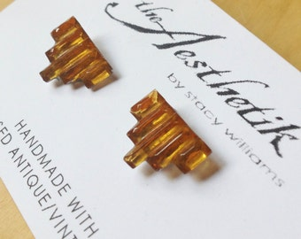 ON SALE Vintage 1920s Upcycled Italian Art Deco Pyramid Amber Glass Post Earrings