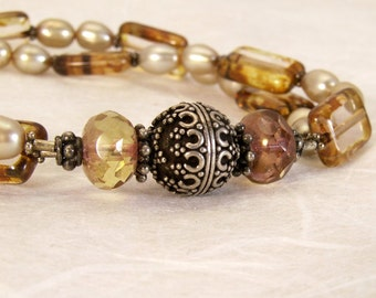 2 strand Sterling Glass and Pearl Bracelet in shades of Amber Citrine and Antique Gold