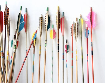 Vintage Colorful Archery Arrows - 5 Selected