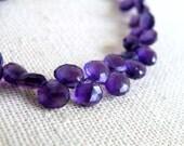 Purple Amethyst Gemstone Faceted Heart Briolette 5.5mm 35 beads 1/2 Strand