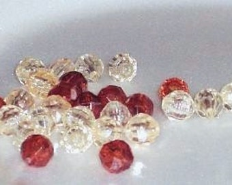 Vintage 8mm Round Faceted Beads,Two Color Package of Brown and Champagne Acrylic Beads, Total Quantity of 425