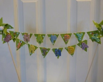 Cake Topper HAPPY BIRTHDAY - Unique Lime Green Polka Dots Pinwheel Flags Banner