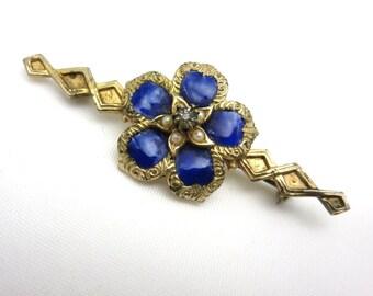 Blue Enamel Flower Brooch - Faux Pearl Costume Jewelry
