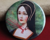 Anne Boleyn pocket mirror - Ann Boleyn mirror, 3-inch pocket mirror, tudor accessories, history geek gift - by Meluseena