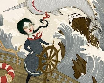 Dauntless 11X14 print -- sailor art, feminist art, strong woman, goddess art inner strength sea monster art sailor illustration  Lisa Falzon