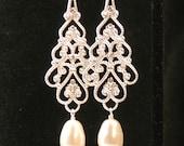Clip On Filigree Teardrop Earring, Clipon Earring, Pearl Chandelier Earring, Bridal Earring, Wedding Earring, Long Earring, Bridesmaid