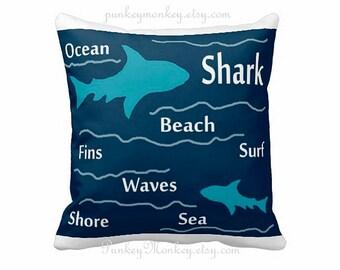 Shark pillow 16x16 square toss pillow beach theme ocean fish surf sharks beach decor kids toddler boys