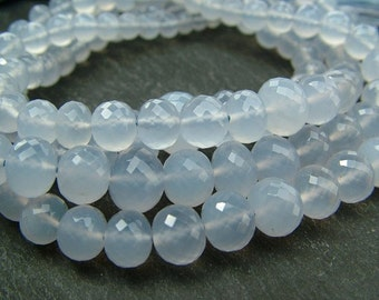 """Natural Chalcedony Rondelles, AAA, Faceted, 3.5-7.25mm - 8.5"""" Strand (ET265)"""
