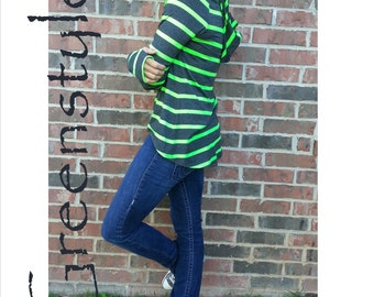 Greenstyle Women's Lacy Slope Hooded T-Shirt Pattern  - Instant Download
