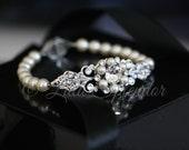 Wedding Bridal Bracelet Rhinestone Pearl Filigree Cuff Bracelet Pearl Wedding Bracelet Weding Jewelry PARIS PEARL BRACELET