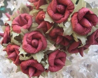 Paper Millinery Flowers 24 Handmade Burgundy Blossoms