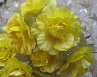 Paper Millinery Flowers 12 Bright Yellow Northern Roses