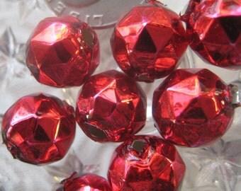 8 Faceted Glass Garland Beads Burgundy Christmas Garland Beads Czech Republic 13mm 080 DR