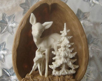 Tiny Walnut Shell Christmas Ornament Germany Deer And Christmas Tree