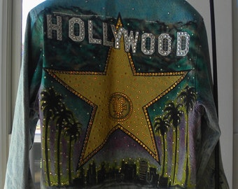 HoLiDaY  SaLe! HOLLYWOOD 1980s Signed Tony Alamo Designer DENIM JACKET Fully Studded Crystals & Nailheads!