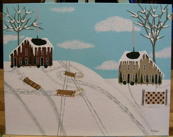 Original Winter Landscape Folkart Painting on Canvas in Acrylics Saltbox Houses Sleds Trees Snow Quilt Primitive