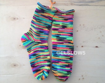 Hand Knit Socks in Blacklight 1 pair fits US adult size 7 to 9 Fabulous Funky Footwear