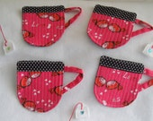 "Valentines ""Love Birds""  Cup Coaster with a Detachable Felt Tea Bag"