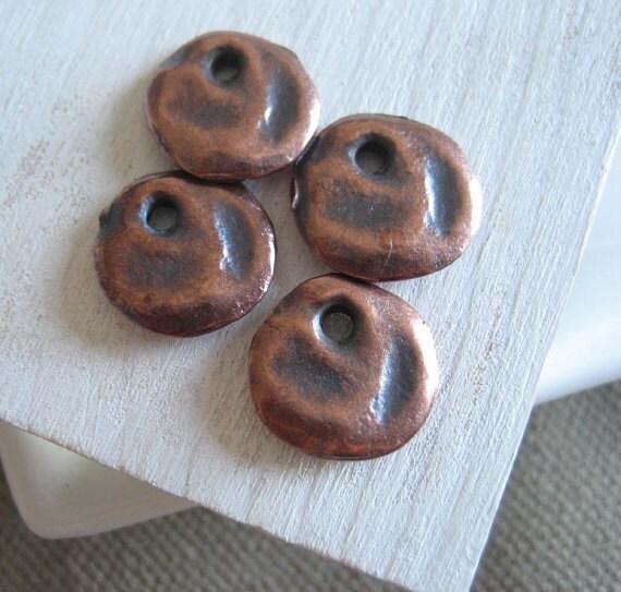 Rustic coin metal pendant flat round charm dangle rustic  metal casting - bronze finish,antiqued copper finish  - 12 mm /  8pcs - 6AM2851