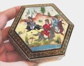 Vintage Handmade Trinket Box, Boho Painted Wood