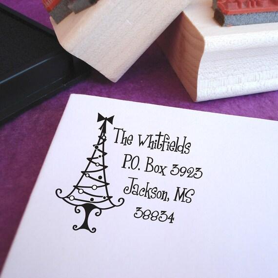 Grinchy Christmas Tree Customized Address Stamp