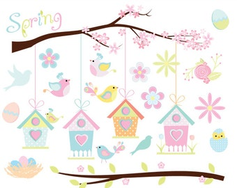 Spring clipart - bird birdhouse clip art, Easter birdies whimsical birdhouse egg  sweet tree branch pastel, for personal and commercial use