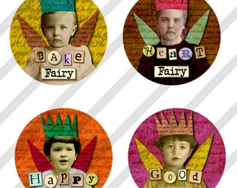 Digital Collage Sheet Bottle Cap 1 inch Circles Word Fairies (Sheet no.FS201) Instant Download