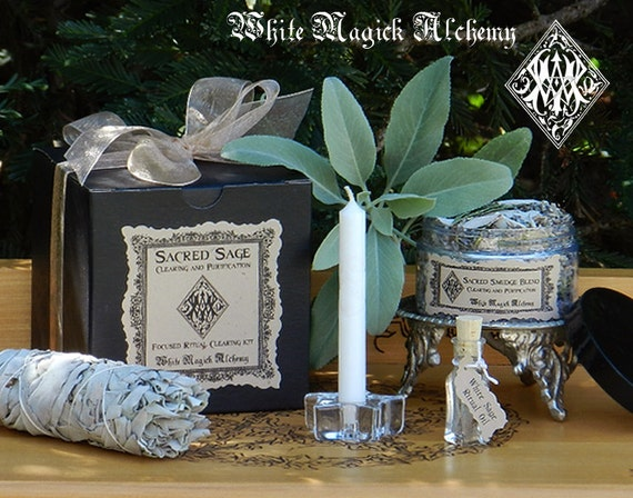 Sacred Sage Herbal Clearing Smudge Kit . Cleansing and Clearing Negativity, Protection, Sacred Space