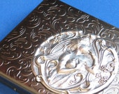 Cigarette case Business Card holder Metal wallet with a Floral maiden medallion Antique silver Slim Exclusive Impressive accessory