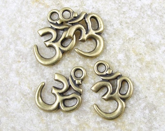 Brass Charms - TierraCast Om Drop - Antique Brass Oxide Om Charm - Eastern Zen Yoga Spiritual Bronze Charm (P775)