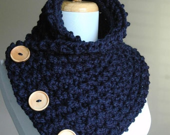 Chunky Knit Navy Blue Button Scarf with Wood Buttons - Original Design